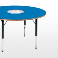 Activity Tables  A comprehensive range of shaped activity tables developed to encourage group activity.  • Height adjustable from 430mm to 630mm (in 25mm increments) with allen key, or with a tool free push pin fitting.  • Stain resistant wipe clean tops   • Supplied with a fully welded frame.   • MDF edge supplied as standard, coloured PVC or PU edge available.
