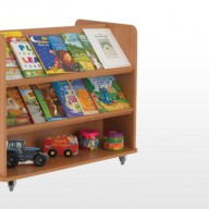 Double Sided Book Trolley  A perfect storage unit solution when space is limited, these mobile units offer extensive storage for books on either side.  • Manufactured from 18mm MFC with rounded corners for extra safety within the classroom.  • All units supplied with locking castors.   • Dimensions - 960w x 640d x 840h   The panels within these Library Units can be individually coloured.  Please call us for colours and options.