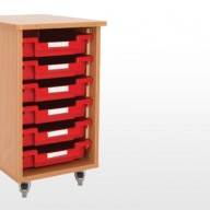 Single Bay Storage Unit A deluxe storage solution constructed from 18mm MFC with rounded corners for safety in the classroom• Manufactured from 18mm MFC with 2mm PVC edging• All units supplied with non marking lockable castors• All units supplied with a 18mm solid back• Dimensions - 400w x 505d x 650h