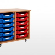 Double Bay Storage Units A deluxe storage solution constructed from 18mm MFC with rounded corners for safety in the classroom• Manufactured from 18mm MFC with 2mm PVC edging• All units supplied with non marking lockable castors • All units supplied with a 18mm solid back • Dimensions - 740w x 505d x 650h