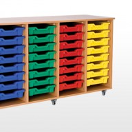 Quad Bay Storage Units A deluxe storage solution constructed from 18mm MFC with rounded corners for safety in the classroom• Manufactured from 18mm MFC with 2mm PVC edging• All units supplied with non marking lockable castors • All units supplied with a 18mm solid back • Dimensions - 1440w x 505d x 850h