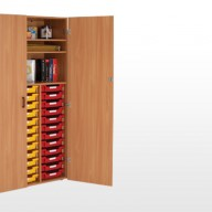 Storage Cupboards This range of 1800mm high storage units offer the maximum storage solution within any educational environment.  • 18mm MFC units with solid 18mm back panels  • 3 different shelf and tray combinations.   • Trays available in a wide range of colours (see below).   • Shallow trays supplied as standard. Deep trays can be supplied - each take the place of 2 shallow trays.   • Clear perspex label covers for trays can be supplied.   • Dimensions - 1055w x 490d x 1790h
