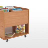 Kinder Box  A perfect storage unit solution when space is limited, these mobile units offer extensive storage for books on either side.  • Manufactured from 18mm MFC with rounded corners for extra safety within the classroom.  • All units supplied with locking castors.   • Dimensions - 640w x 640d x 610h   The panels within these Library Units can be individually coloured.  Please call us for colours and options.
