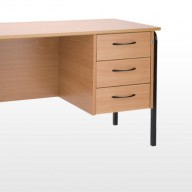 Traditional Teachers Desk  Teachers desk complete with locking drawer pedestal and modesty panel in Beech as standard, other colours available  •  Black frames supplied as standard, other colours available on request  •  Beech PVC edge supplied as standard   •  Left or right hand pedestal available   •  The T6 and T7 chairs are designed for the teachers to interact at a low level.