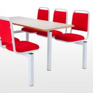 6 Seater Fast Food Unit Our comprehensive range of fastfood seating units provide both a functional and robust solution for canteen areas.• 4 styles of seat option.• All frames are fully welded from 50mm sq tube for durability. • All tops are 25mm MDF with a wipeable laminate top.  • Floor fixing brackets are available. • Single or Double entry units available. • Fabric or wipeable vinyls are available. • Seat Pads are available for P1 and P5 seats.